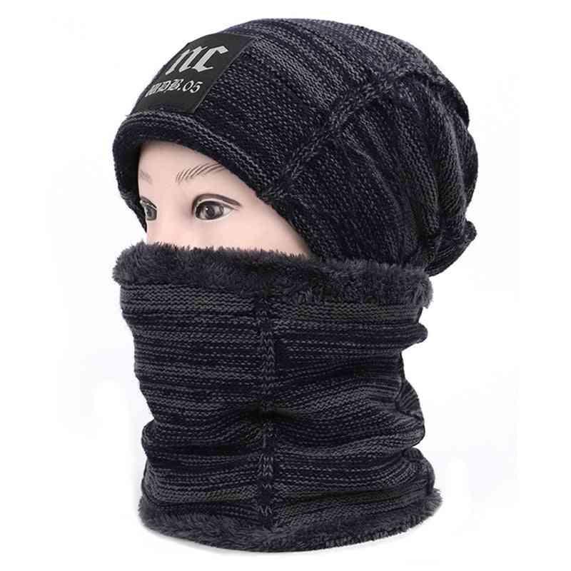 Unisex Thicken Hedging Cap, Neck Gaiter, Woolen Winter Beanie