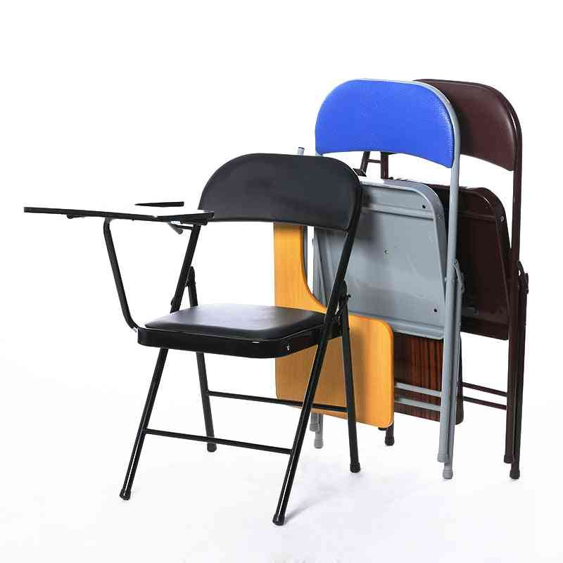 Portable Folding Office Meeting Conference Chair With Writing Board Stable