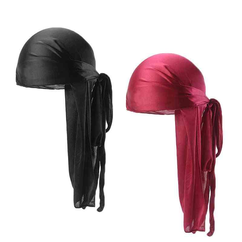 Men, Women, Durag Long Tail, Chemo Cap, Breathable Turban, Pirate Solid Headwear
