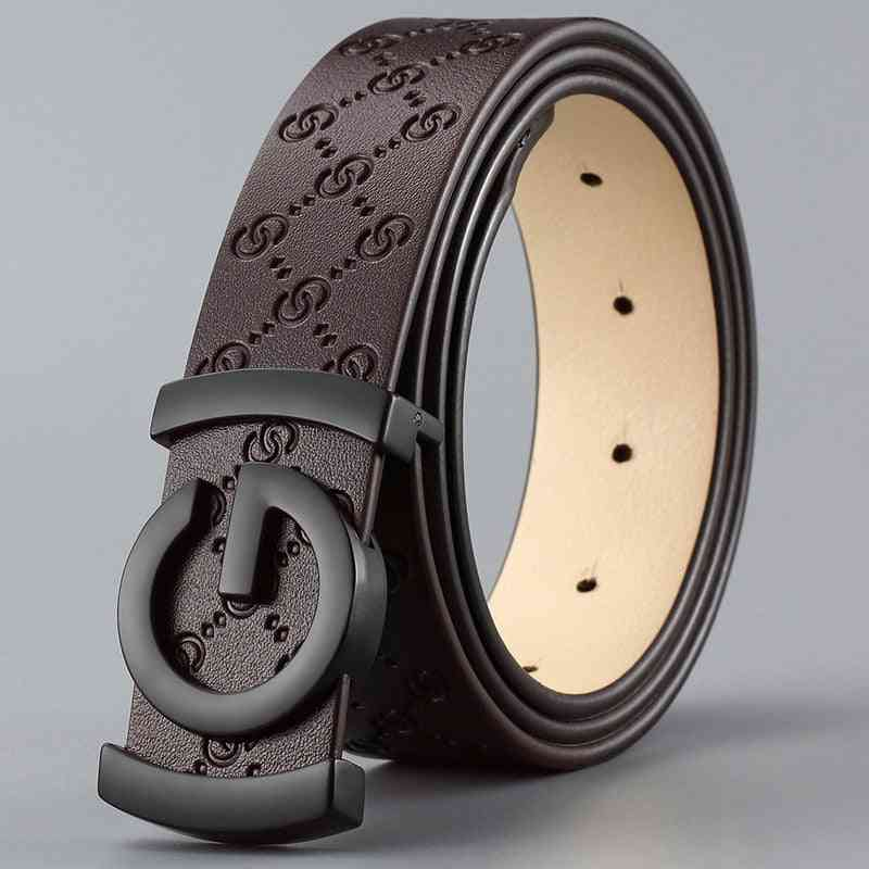 Smooth Buckle High Quality, Male Strap Cow Genuine Leather Men Belt