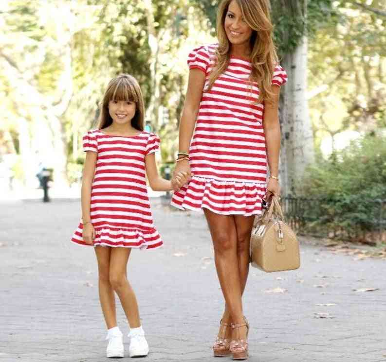 Family Matching Clothes, Striped Mother Daughter Dresses Short Sleeve
