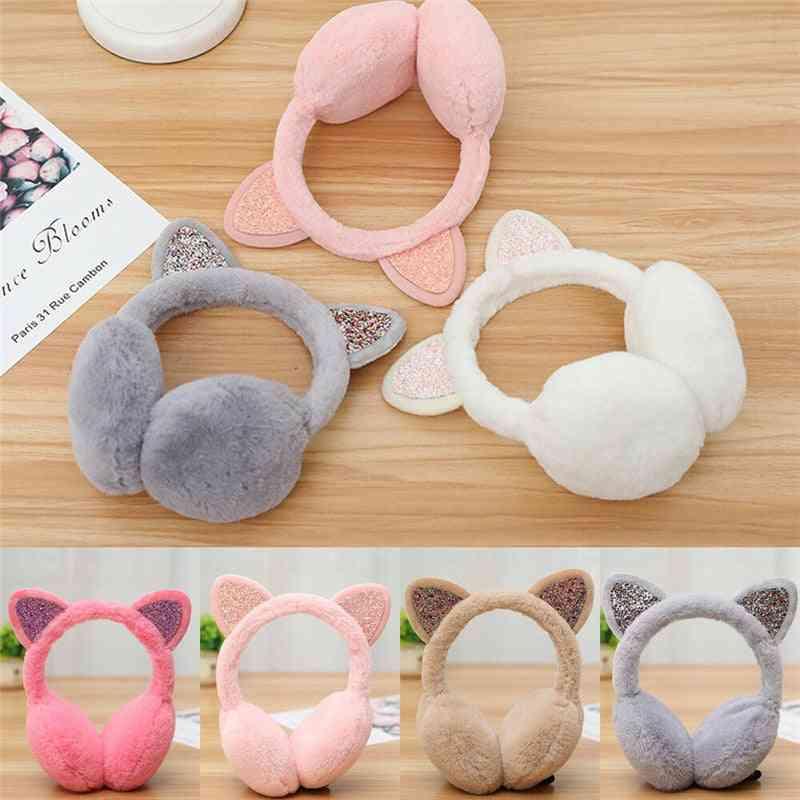 Girl Earmuffs, Shiny, Warmers Kitty Fur Earlap