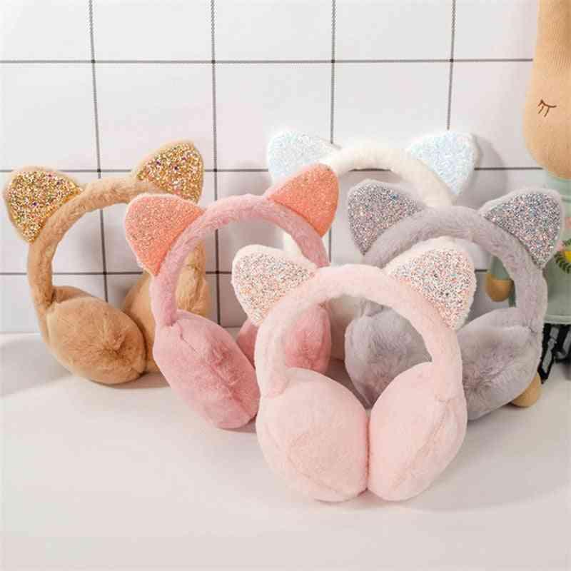 Soft Plush With Sequins, Fashion Ear Warmer, Cat Earmuffs