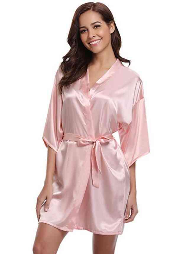 Faux Silk Dressing Bathrobe