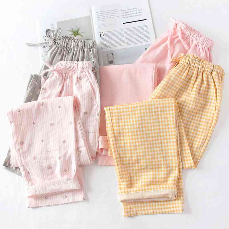 Spring And Summer Couples Cotton Double Gauze Thin Sleep Pants