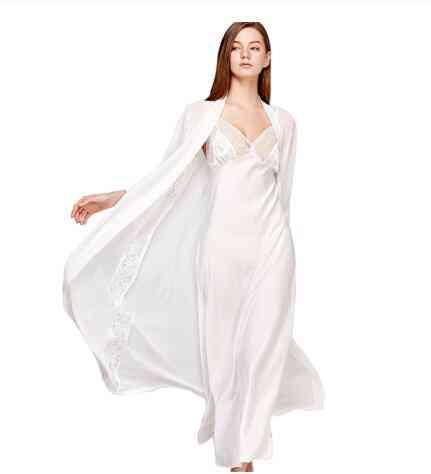 Sling Dress Sleeping Robe Two-piece Faux Silk Sleepwear