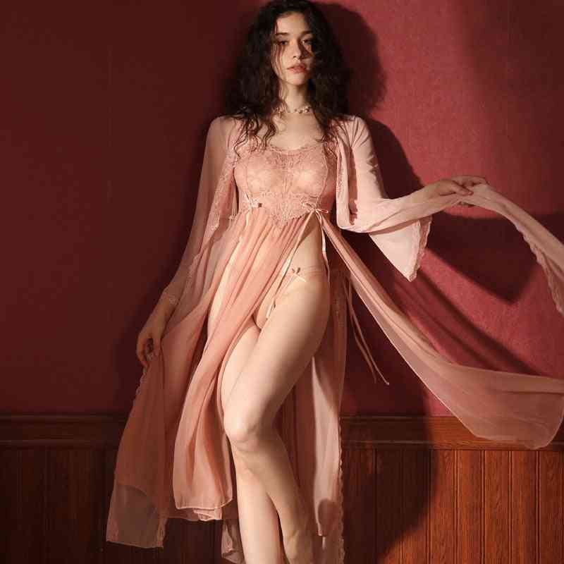 Pajamas Female Summer Lace Long Nightdress Robe And Gowns