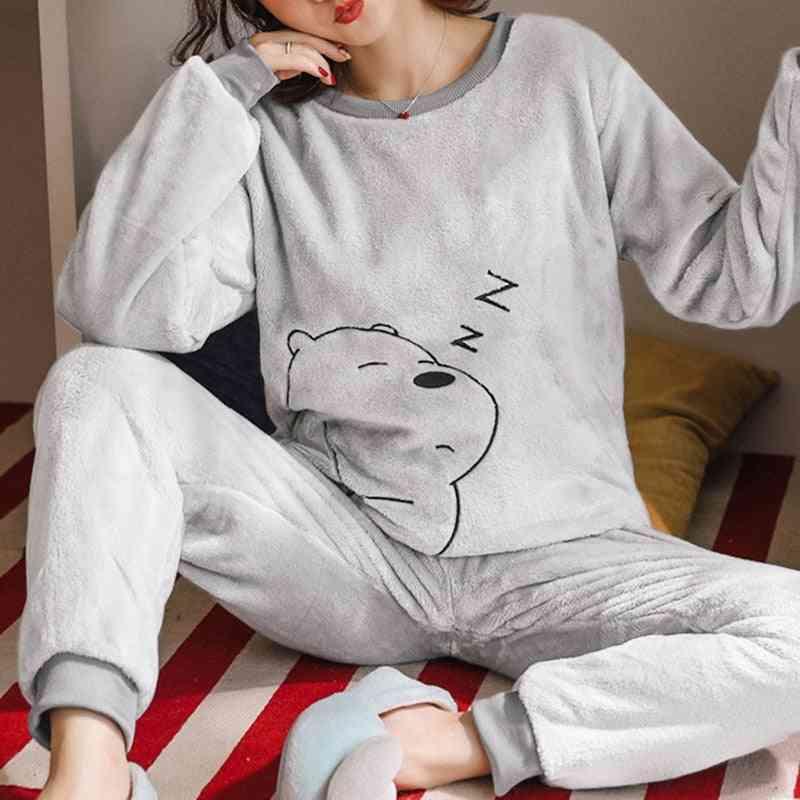 Autumn/winter Warm Flannel Women Pyjamas Sets Thick Coral Velvet Cartoon Sleepwear