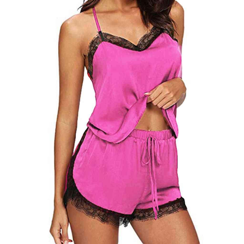 Women Sleepwear Pyjama Sets Sleeveless Strap Lace Trim Satin Cami Top