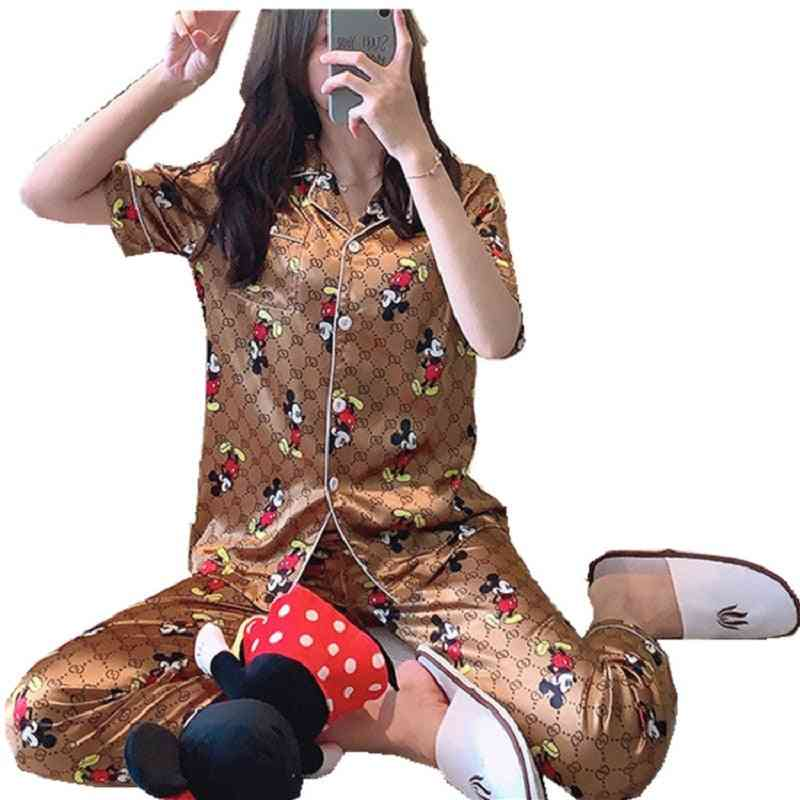 Women Mickey Mouse Silk Sexy Thin Section Lapel Cardigan Short Sleeve Trousers