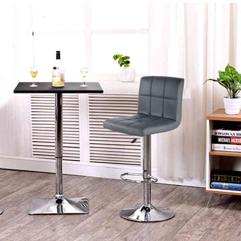 Pu Leather Swivel Bar Stools Chairs Height Adjustable Counter Pub Chair Barstools