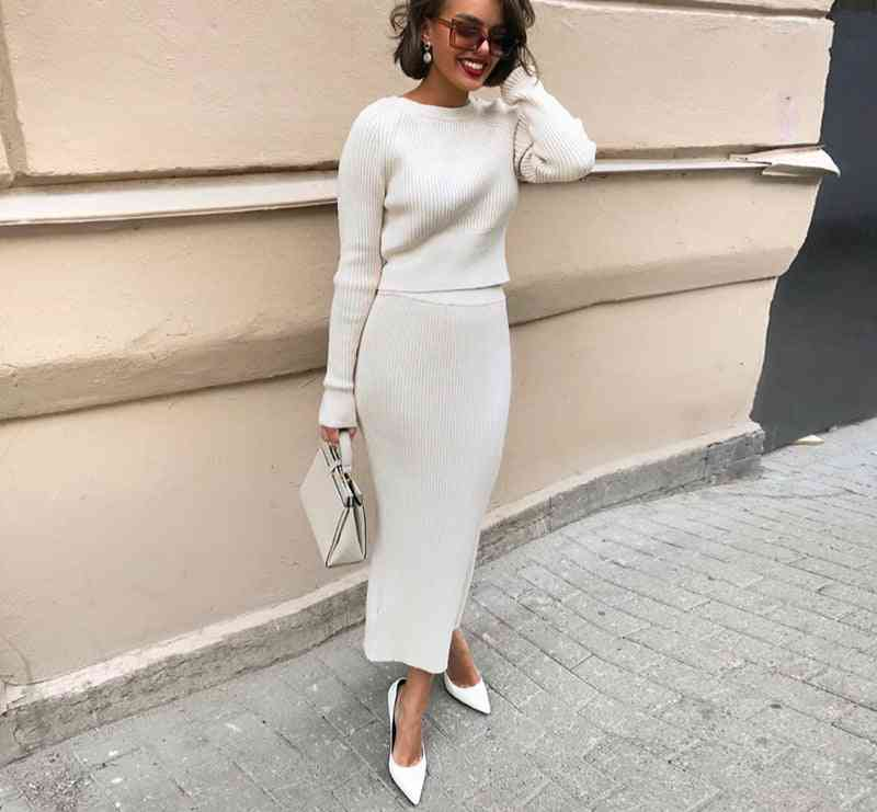 Knitted Sweater And Skirt, Two Piece Set