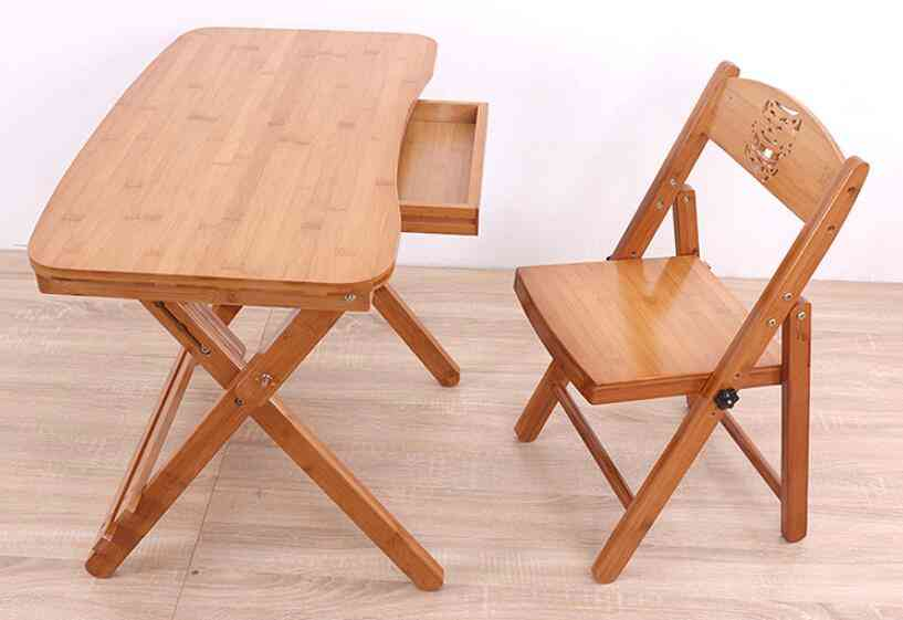 Wooden Folding Study Desk With Drawer And Chair