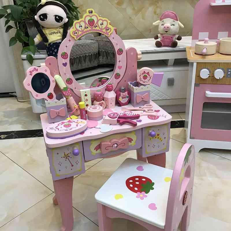 Children Wooden Dresser Toy - Pink Imitation Make-up Table Set 's