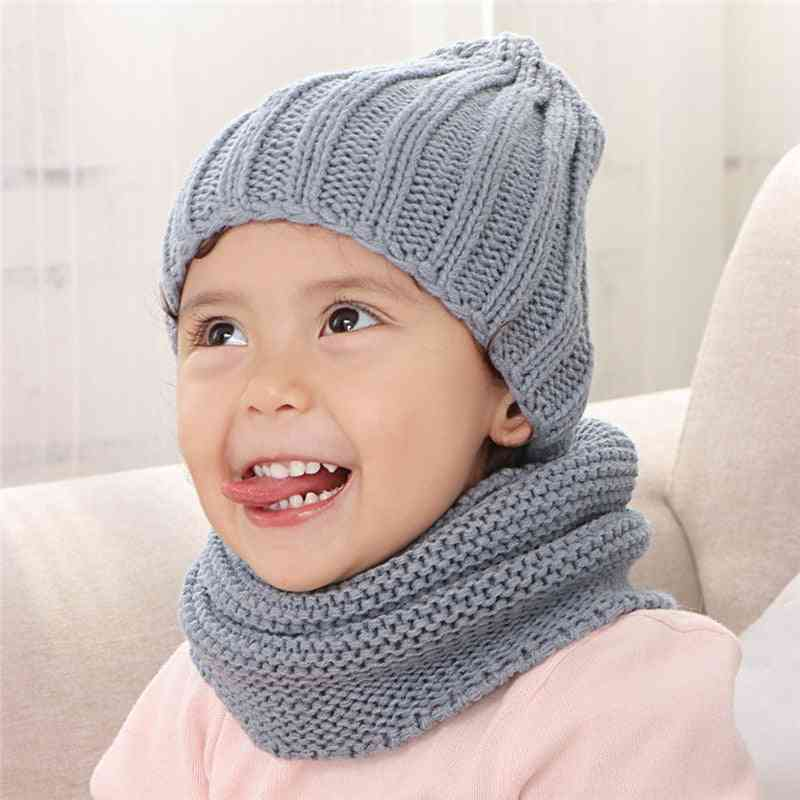 Solid Acrylic Knit Hat And Scarf For