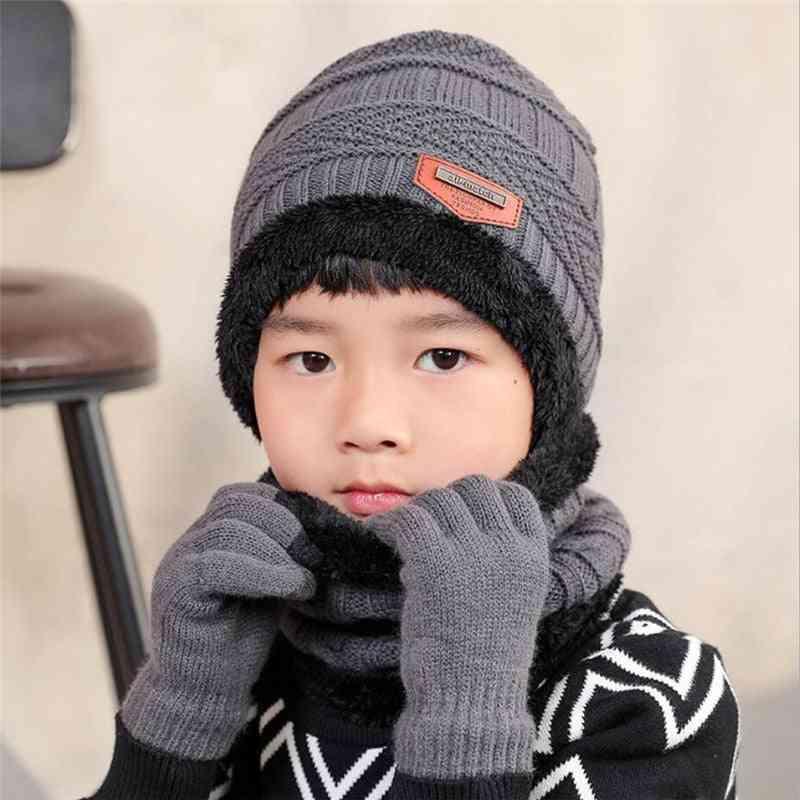 Child Winter Knitted Hat Scarf & Gloves Set