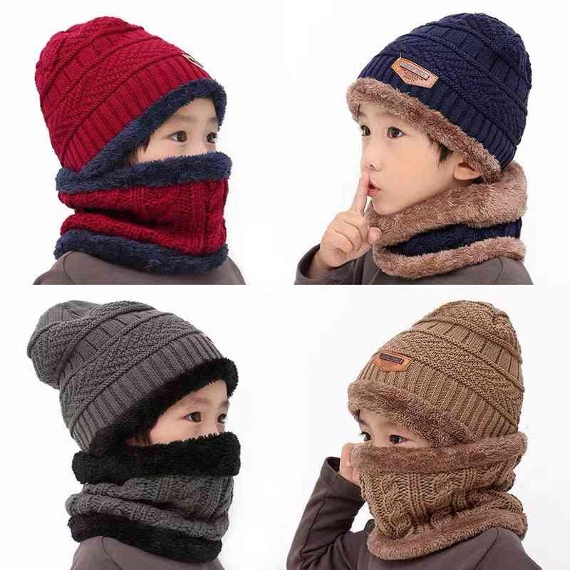 Children Knitted Ring Scarf, Velvet Thick Soft Cap For Boy, Girl