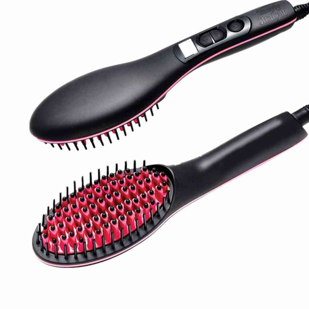 Portable Size Handheld Electric Hair Brushes Straighter - Lcd Display Comb