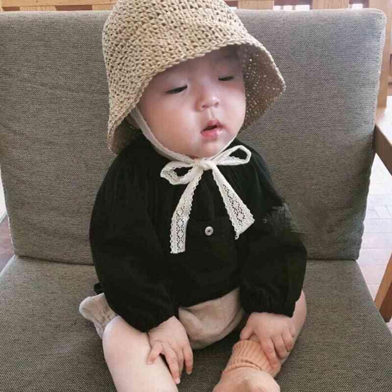 Summer New Child's  Sun Hat, Lace Bowknot Ribbon Bucket Cap