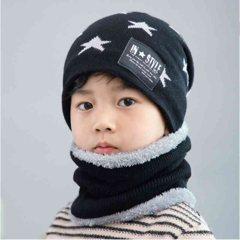 Parent Child Outdoor Super Warm Winter Beanies Knitted Hat And Scarf