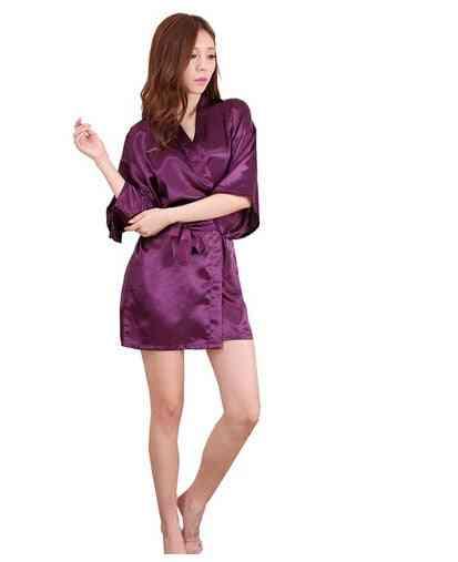 Silk Satin, Short-night, Kimono Robe, Sexy Peignoir