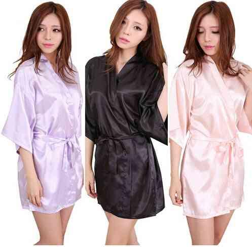 Satin Bridesmaid Robes, Faux Silk Bridal Sisters Dressing Bathrobes
