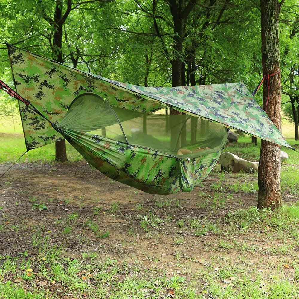 Mosquito Net Hammock Tent With Waterproof Canopy Awning Set
