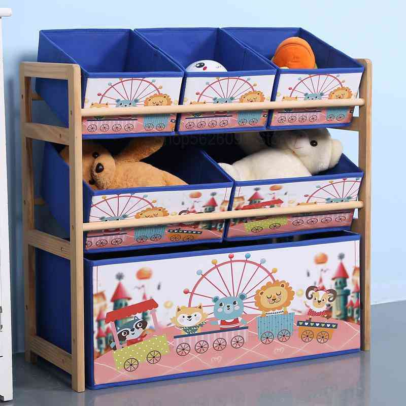 Solid Wood- Toy Rack, Storage Box, Finishing Cabinet For Child