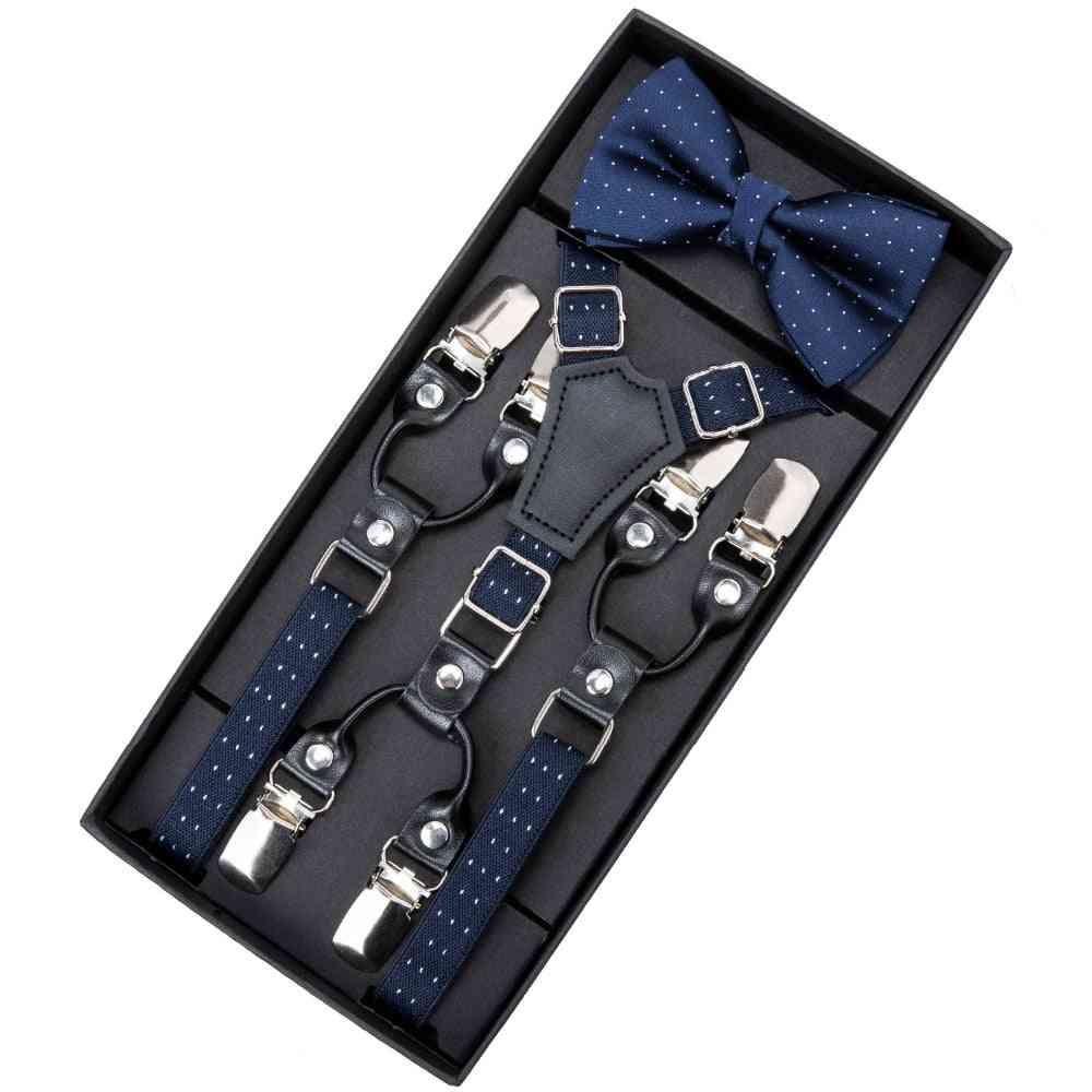 Leather Suspenders Straps With Bow Tie, Trousers Braces Elastic Adjustable