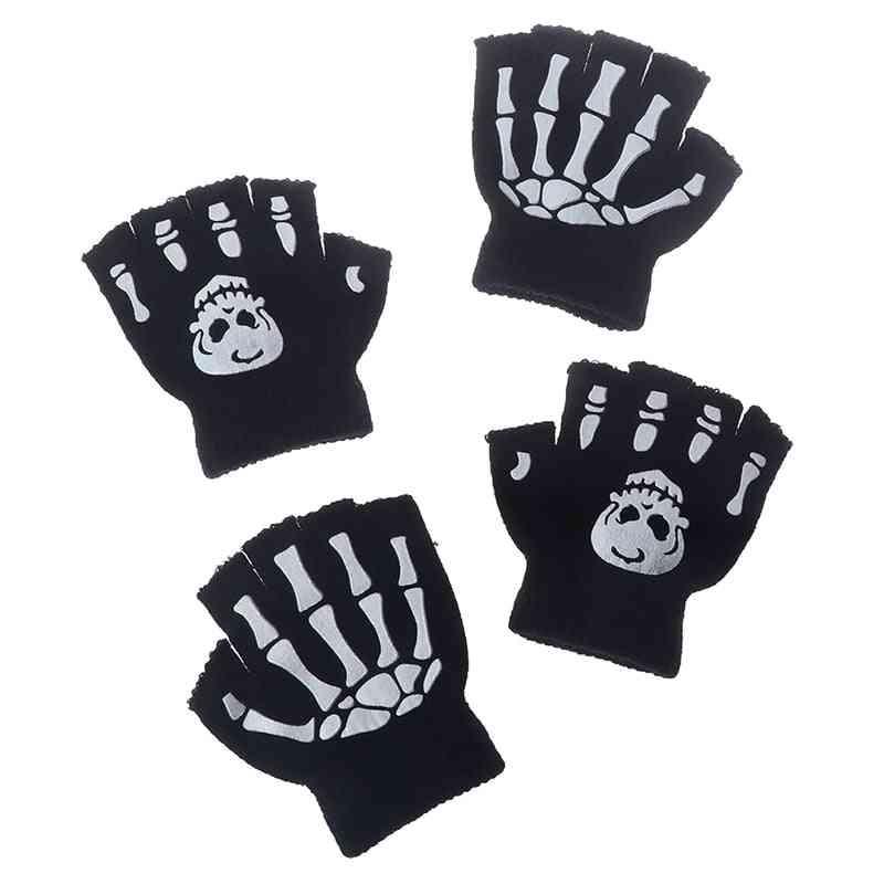 Boys Cool Fluorescent Skeleton Gloves, Winter Knitting Luminous Glove