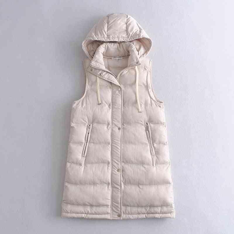 Vest Coats, Zipper Hooded Down Cotton Jacket