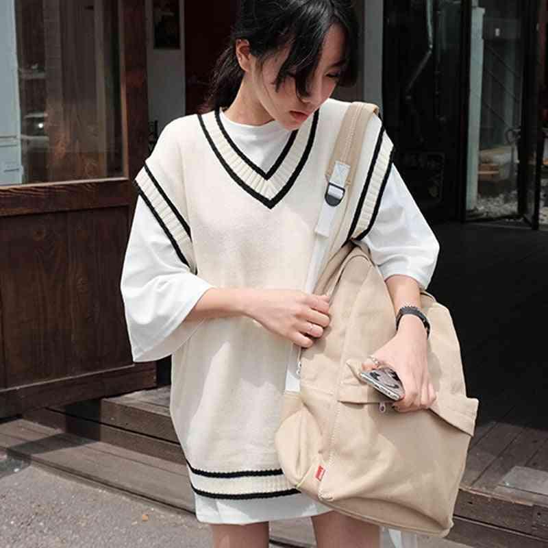 Autumn Plus Size Sleeveless Vest, Women Vest-knit Striped Sweater