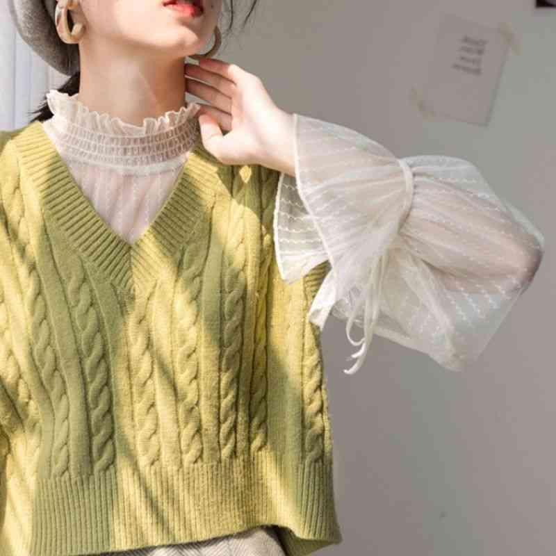 Women Knitted Vests, V-neck Short Outwear Waistcoats