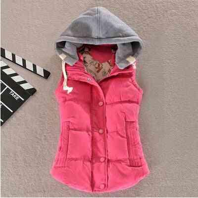Women Vest Winter Coat, Gilet Colete Pocket Hooded Sleeveless Jacket