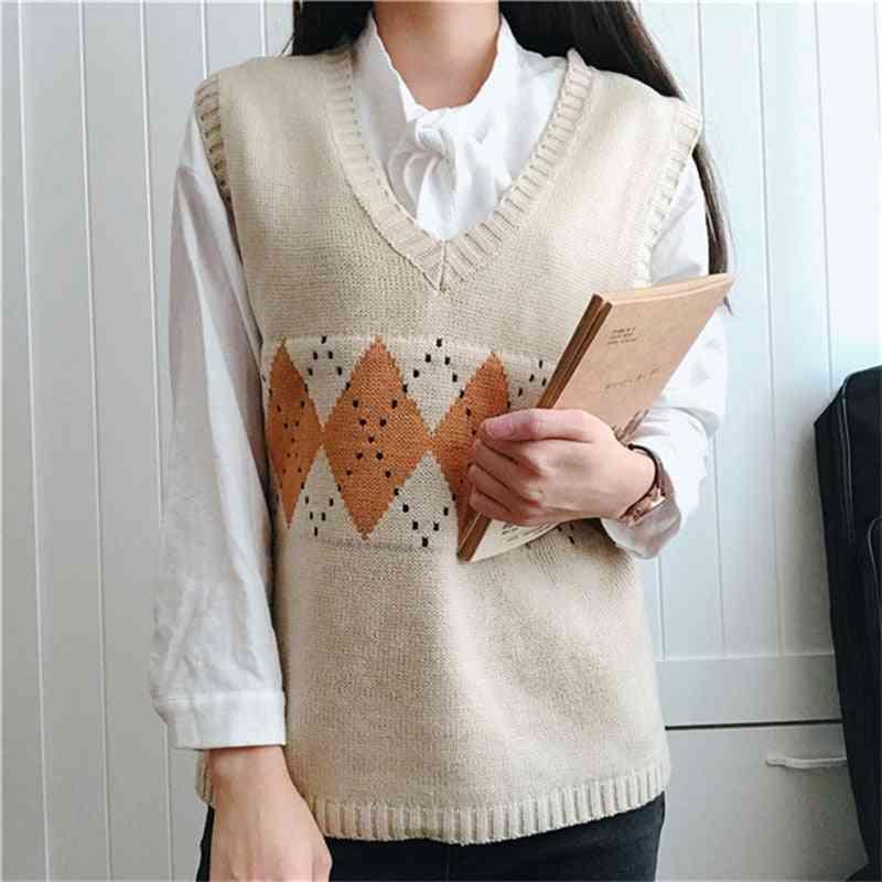 Women Sweater Vest, Vintage Geometric Argyle V-neck Sleeveless Pullovers Sweaters