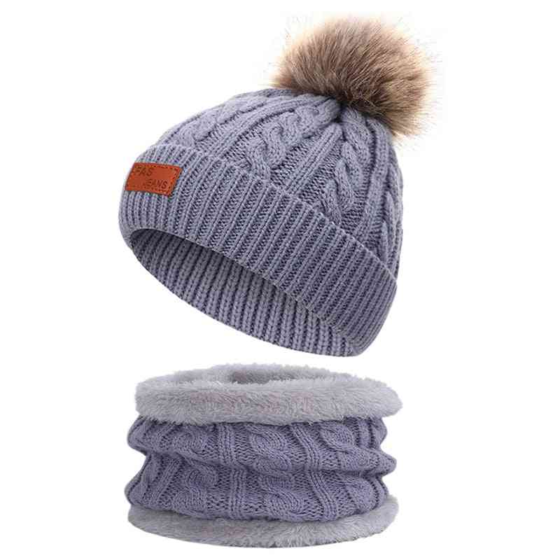 Winter Warm- Casual Cotton, Pompon Knit Hat Scarf, Soft Cap For/girls