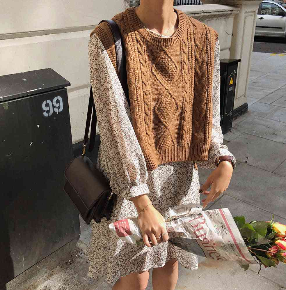 Casual O-neck, Pullover Short Sleeveless, Warm Sweater