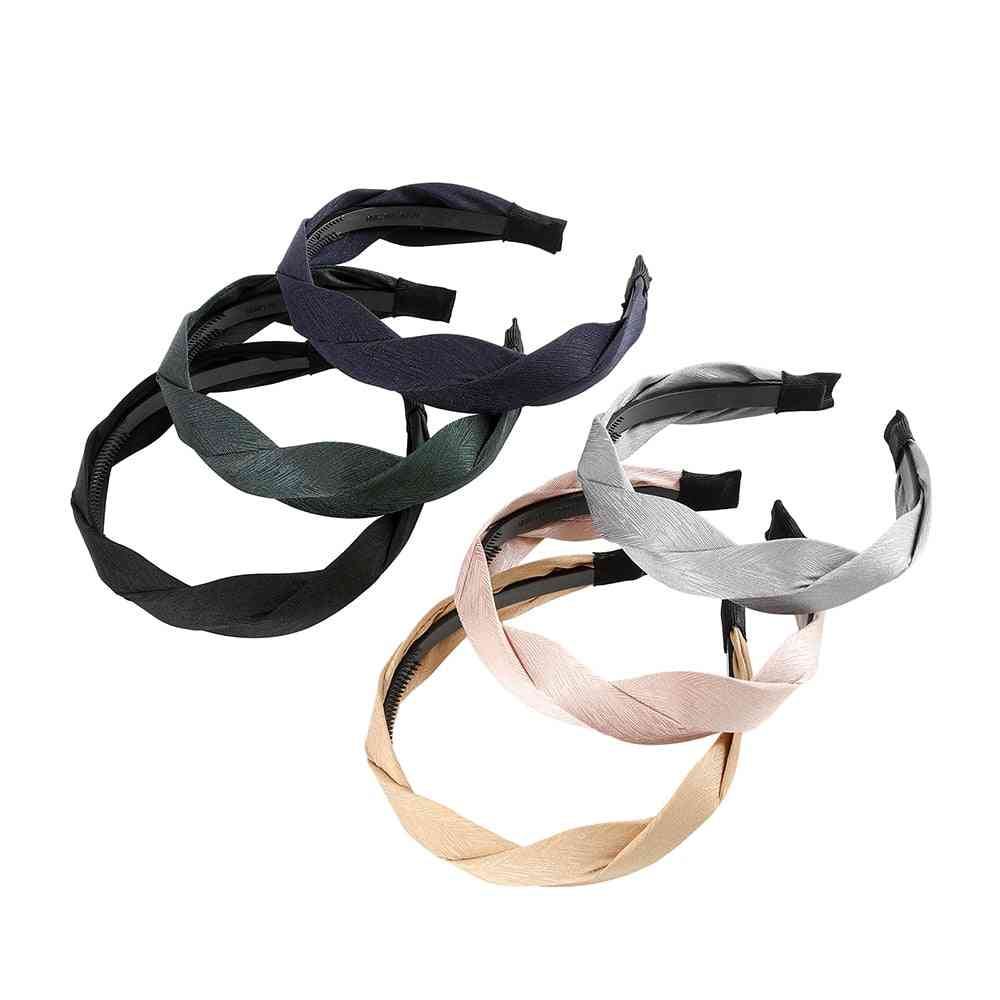 Wide Shiny- Weaving Braided, Hair-hoop, Bezel Headdress, Hair Bands