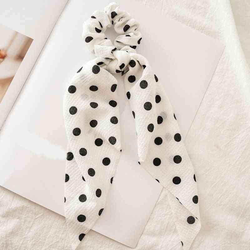 Polka Dot/floral Print, Elastic Bow Design-hair Rubber Bands