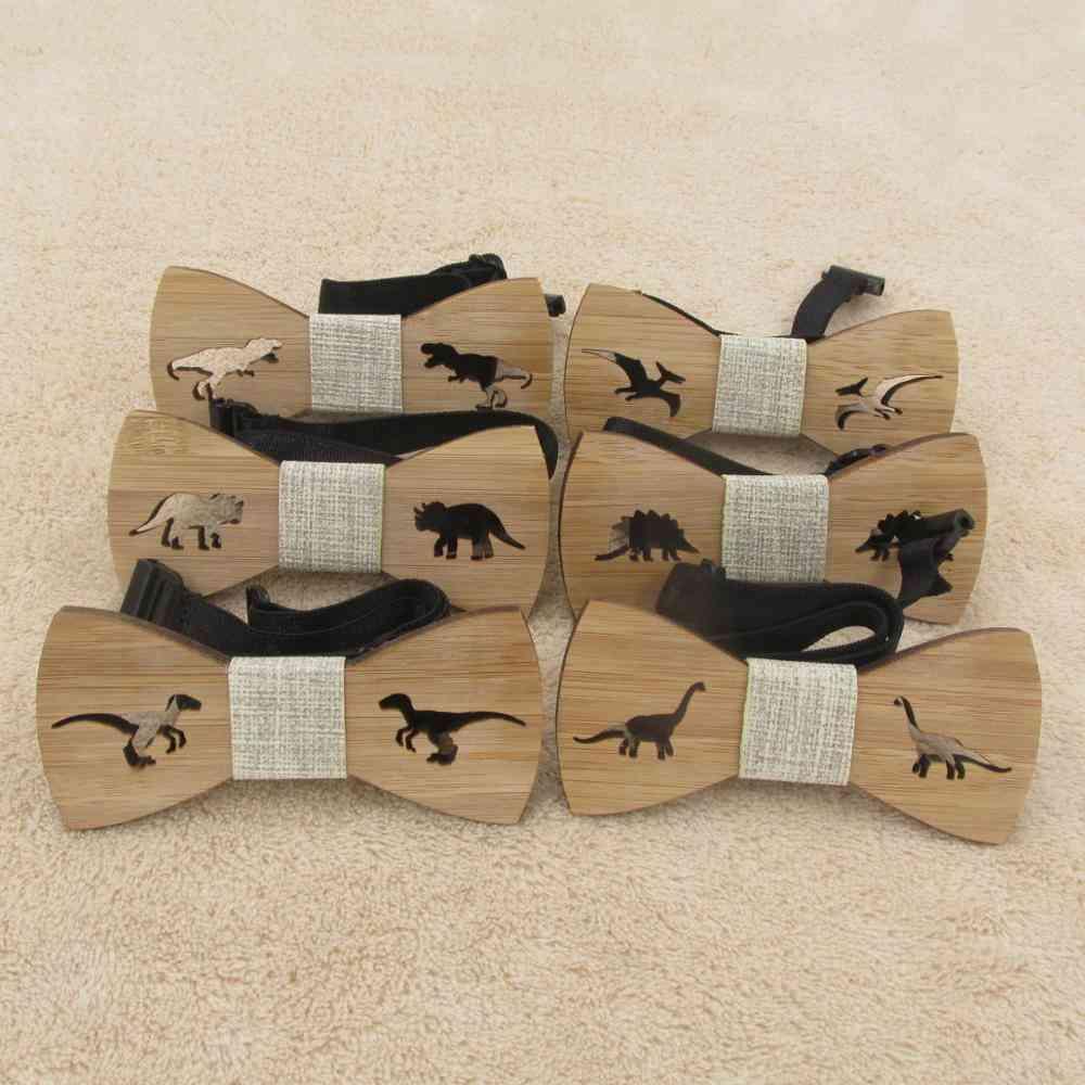 Children Neck Wear, Wooden Dinosaur, Bow Tie For