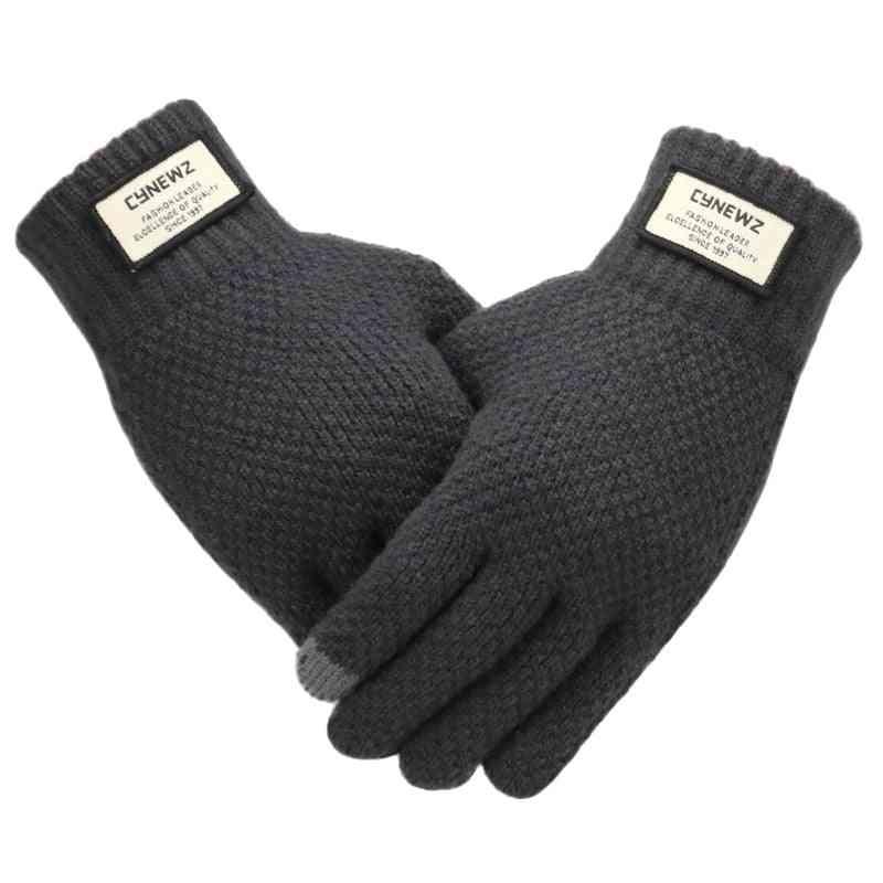 Winter Thicken Warm Wool Knitted Gloves
