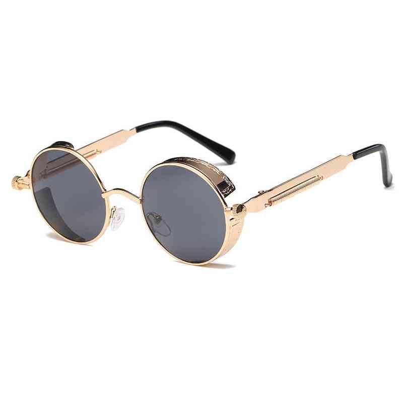 Vintage Metal Round Steampunk Sunglasses, Retro Frame