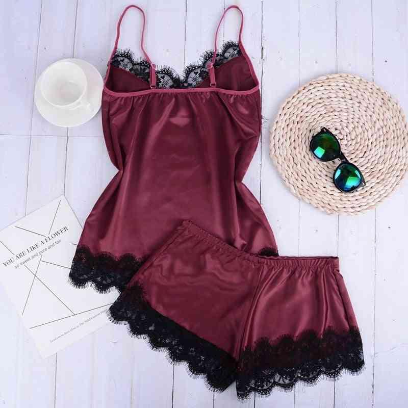 2pcs Lace Pattern Night Wear