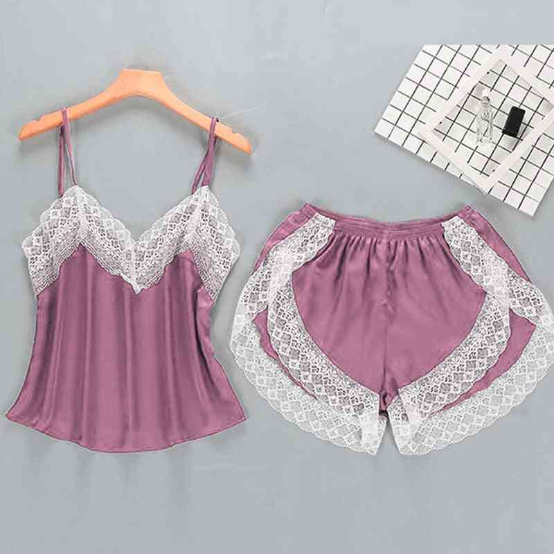 2 Pieces Pyjamas Set Women Lace Lingerie Set Solid Soft Sexy Nightwear