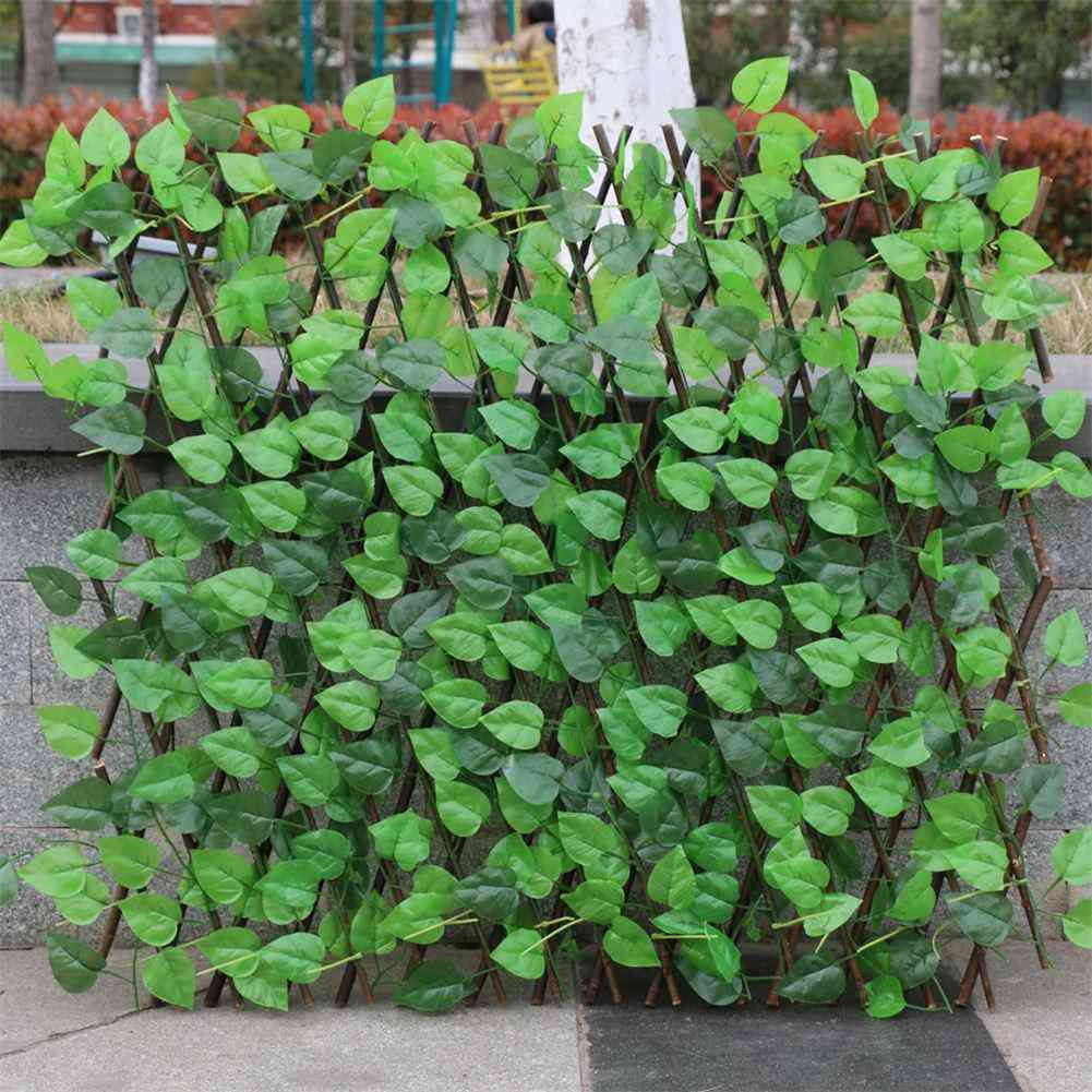 Garden Fence Decoration Privacy Wood With Artificial Green Leaf For Courtyard Home Decoration