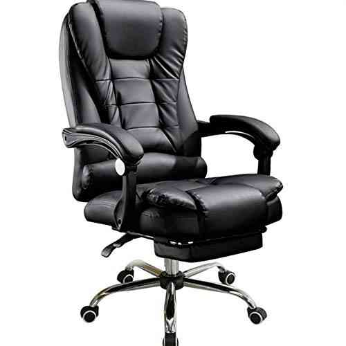 High Reclining, Leather Swivel, Office Chair With Footrest Adjustable Chair