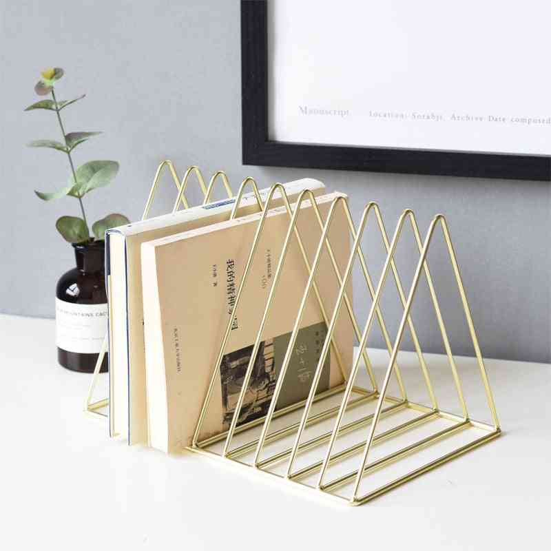 Luxury Bookshelf, Metal Geometry Newspapers And Magazines Storage Rack