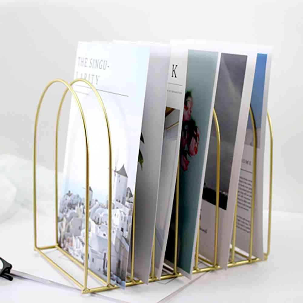 Simple File Organizer Wrought Iron Book Stand Storage Folding