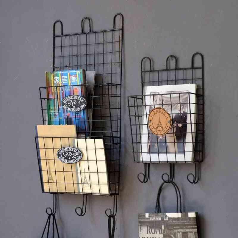 Industrial Retro Wrought Iron Magazine Shelf, Wall Storage Rack