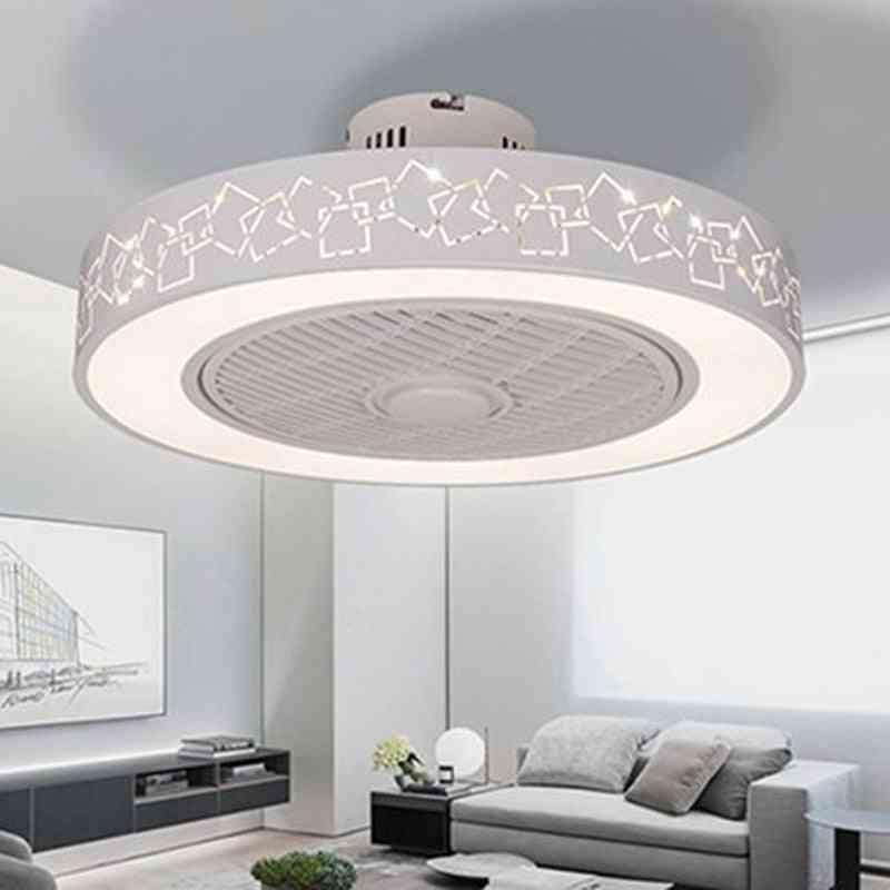 Iron Ceiling Fan Light, Led Lighting Dimmable Bedroom Fans Lamp